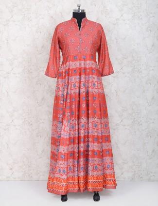 Peach hue cotton silk floor length anarkali suit