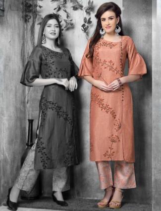 Peach hue cotton silk kurti for festive wear