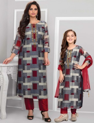 Grey cotton mother daughter combo punjabi suit for festival