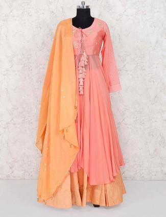 Peach hue designer lehenga cum salwar suit in georgette