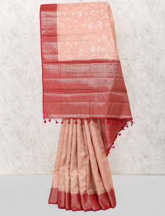 Peach hue festive wear lovely color saree