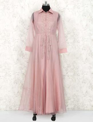 Peach hue floor length anarkali suit in tissue silk fabric