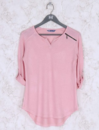 Peach hue knitted casual round neck top