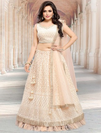Peach hue pretty net lehenga choli