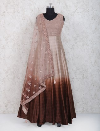 Peach hue raw silk fabric anarkali suit