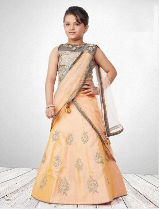 Peach hue raw silk lehenga choli for wedding