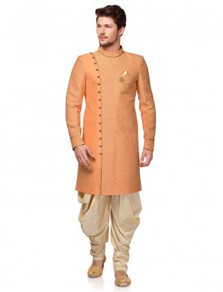 Peach hue raw silk wedding wear indo western