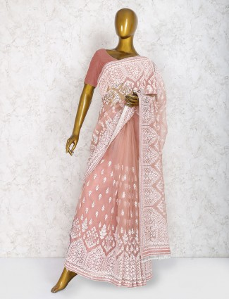 Peach hue saree in marble chiffon