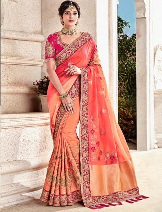 Peach hue semi silk festive occasion half and half saree