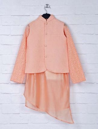 Peach hue silk fabric boys waistcoat set
