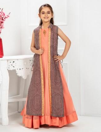 Peach hued cotton silk fabric anarkali suit