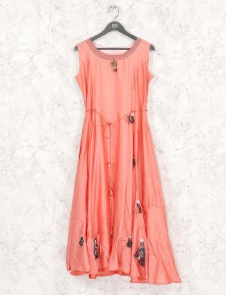 Peach hued kurti in cotton fabric