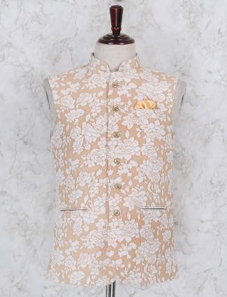 Peach hued printed party function waistcoat