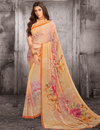 Peach lovely georgette saree