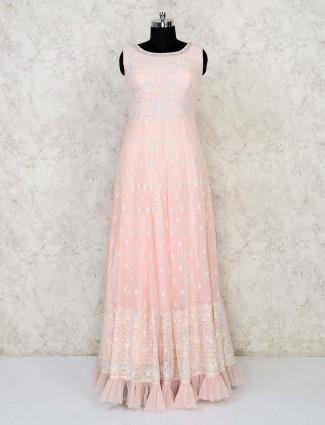 Peach lucknowi anarkali dress for women