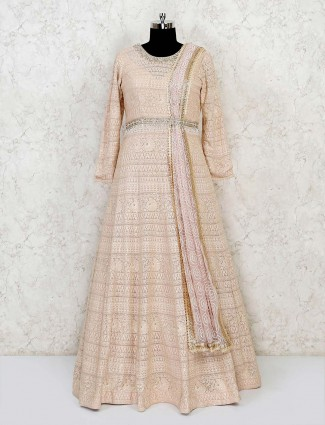 Peach lucknowi anarkali in georgette