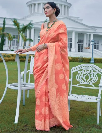 Peach lucknowi saree in georgette for wedding