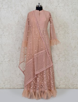 Peach lucknowi thread woven anarkali style suit