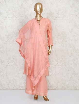 Peach Masakali suit comes with flared palazzo