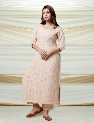Peach mirror work kurti in cotton silk