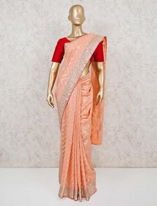 Peach muga silk saree for wedding
