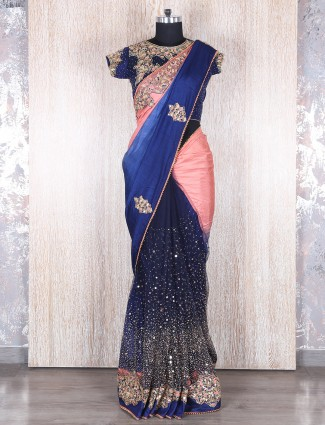Peach navy silk net party wear saree