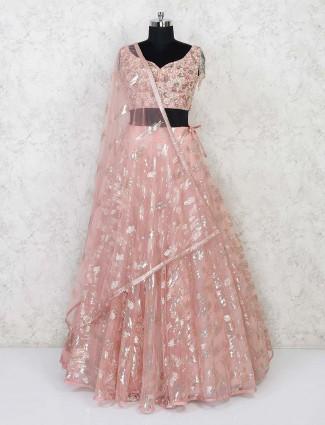 Peach net embroidery lehenga choli