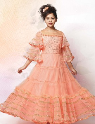 Peach net fabric party gown