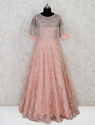 Peach net wedding designer gown