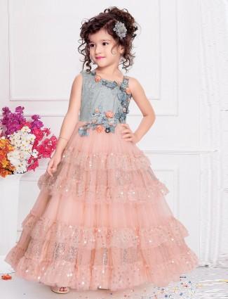 Peach net wedding occasion gown