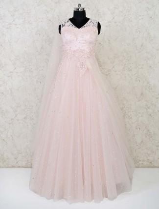 Peach net wedding wear gown