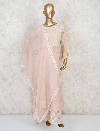 Peach palazzo salwar suit in cotton silk