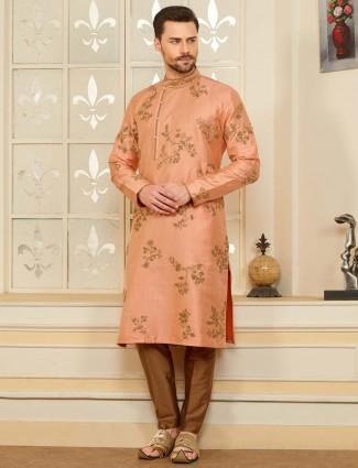 Peach party wear cotton silk fabric kurta suit