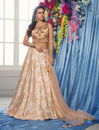 Peach party wear lehenga choli in silk fabric