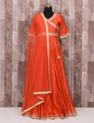 Peach party wear silk fabric anarkali suit