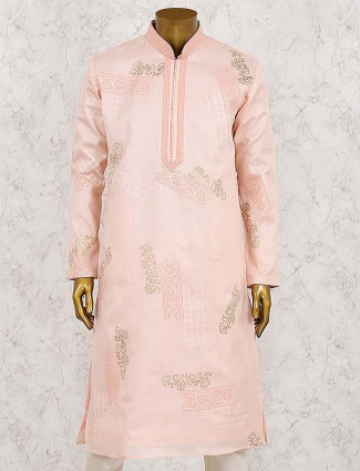 Peach party wear stand collar pattern kurta suit