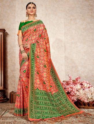 Peach patola silk designer wedding wear saree