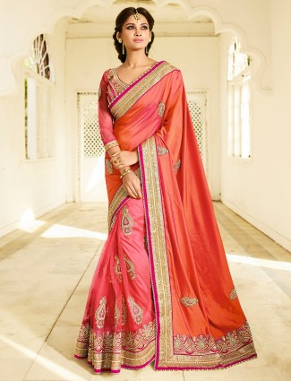 Peach pink net georgette saree