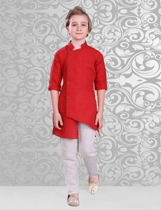 Red  plain festive wear designer kurta suit