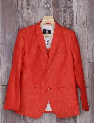 Peach plain party blazer for boys