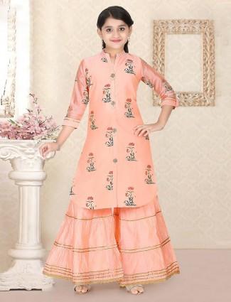 Peach printed cotton silk festive sharara suit