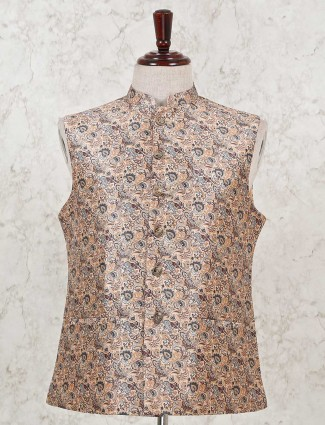 Peach printed cotton silk waistcoat for wedding