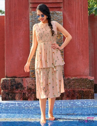 Peach printed design georgette kurti
