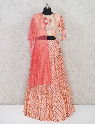Peach printed lehenga in silk fabric