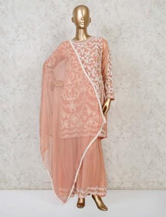 Peach punjabi sharara suit in georgette