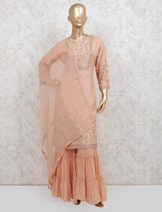 Peach raw silk festive wear punjabi sharara suit