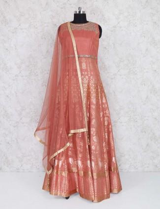 Peach raw silk floor length anarkali suit