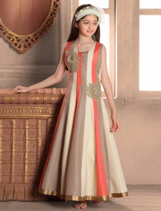 Peach raw silk gown