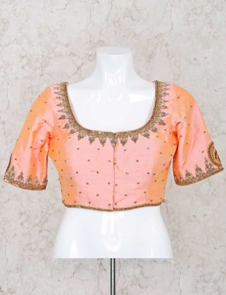 Peach raw silk ready made blouse