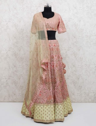 Peach raw silk wedding days lehenga choli